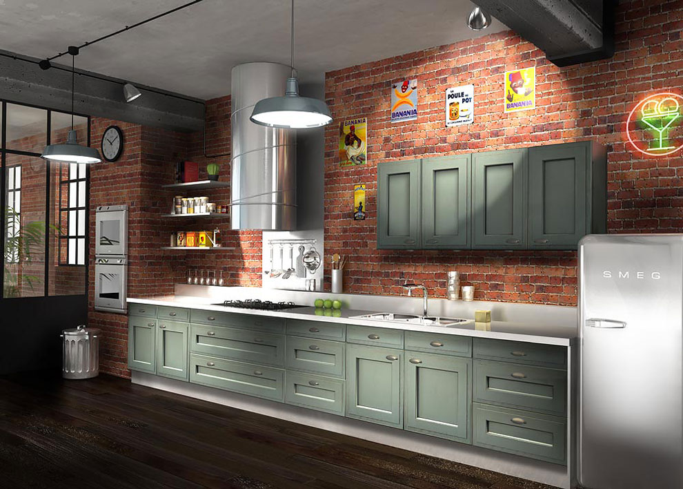 Cuisine bois moderne arbois sagne cuisines - Modele de cuisine en bois ...