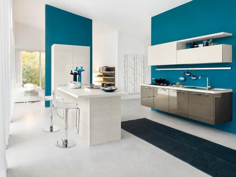 Cuisine Blanche Mur Bleu Turquoise