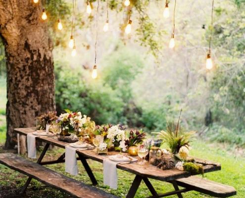 une table-un banc-des fleurs
