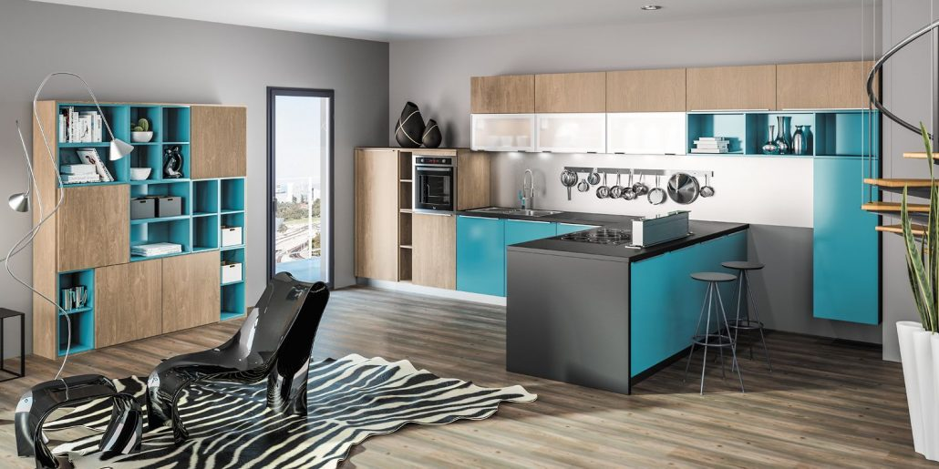 cuisine moderne bleue le blog sagne cuisines. Black Bedroom Furniture Sets. Home Design Ideas