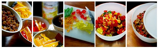 Préparation et coupe des fruits confits