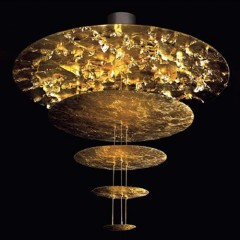 Suspension disques métal doré